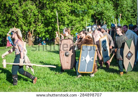 MOSCOW - JUNE 06, 2015: Army of Celts in historical reenactment of Boudica's rebellion of the first century AD. Times and Ages International Historical Festival in Kolomenskoye, Moscow.