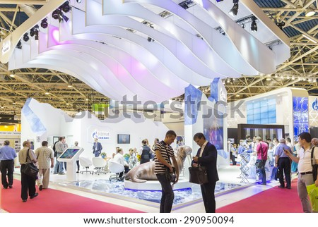 MOSCOW-JUNE 24, 2015: Booth oil company Gazprom OIL of Russia at the International Trade Fair MIOGE - stock photo