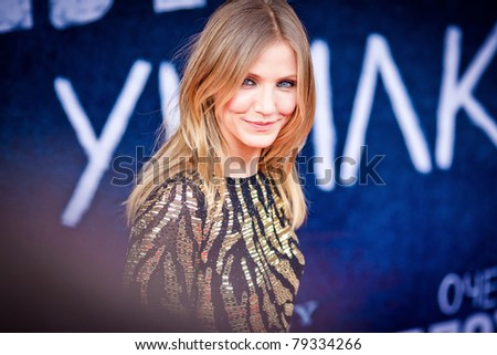 MOSCOW - JUNE 15: Cameron Diaz arrives to the world premiere of 'Bad Teacher' on June 15, 2011 in Octyabr cinema, Moscow, Russia - stock photo