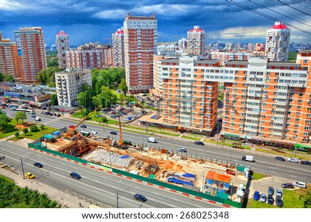 Moscow - June 24: Construction of a new metro line in the area Ramenky. Russia, Moscow, June 24, 2014