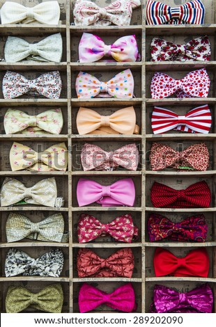 MOSCOW - JUNE 21, 2015: Flea market on the B. Dmitrovskaya street.  Bow tie collection. - stock photo