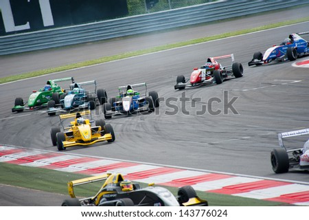 MOSCOW - JUNE 23: Formula Renault 2.0 race at World Series by Renault in Moscow Raceway on June 23, 2013 in Moscow - stock photo