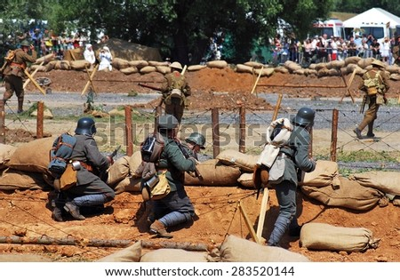 MOSCOW - JUNE 08, 2014: Historical reenactment of Mincer Nivelle battle held in 1917, the largest battle of First World War. Times and Ages International Historical Festival in Kolomenskoye, Moscow.