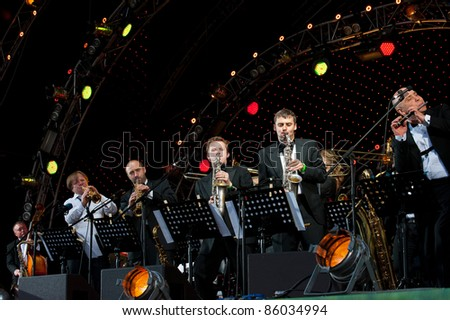 "MOSCOW - JUNE 5: Igor Butman and his band performing at open-air VIII International Festival ""Usadba Jazz"" on June 5, 2011 in Archangelskoye Mansion in Moscow"