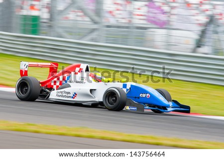 MOSCOW - JUNE 23: Jake Dennis of Fortec Motorsports team (GBR) race at Formula Renault 2.0 race at World Series by Renault in Moscow Raceway on June 23, 2013 in Moscow - stock photo