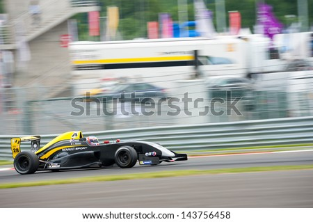 MOSCOW - JUNE 23: Leo Roussel of Arta Engineering team (FRA) race at Formula Renault 2.0 race at World Series by Renault in Moscow Raceway on June 23, 2013 in Moscow - stock photo