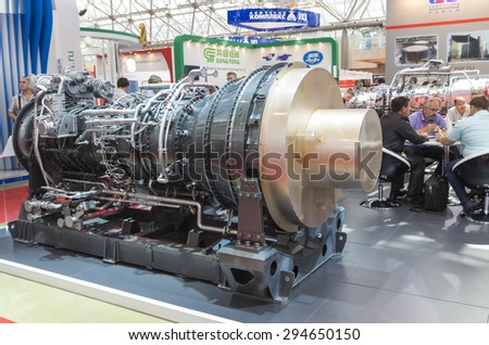 MOSCOW-JUNE 24, 2015: Marine gas turbine engine of the Russian Corporation at the International Trade Fair MIOGE