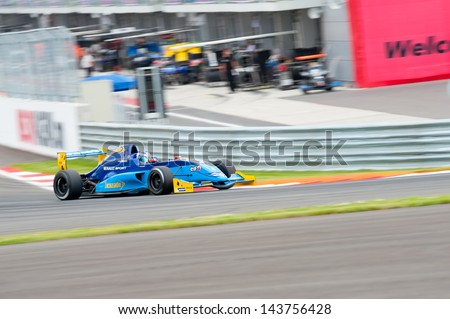 MOSCOW - JUNE 23: Nyck de Vries of Koiranen GP team (FN) race at Formula Renault 2.0 race at World Series by Renault in Moscow Raceway on June 23, 2013 in Moscow - stock photo