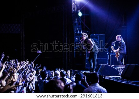 MOSCOW - 28 JUNE, 2015 : Papa Roach and their frontman Jacoby Shaddix performing live at Ray Just Arena in Russia
