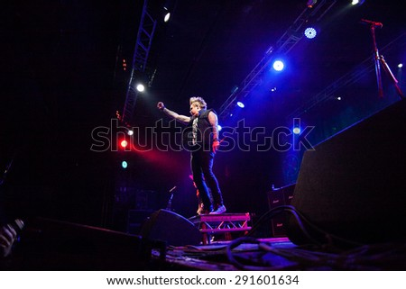 MOSCOW - 28 JUNE, 2015 : Papa Roach and their frontman Jacoby Shaddix performing live at Ray Just Arena in Russia - stock photo