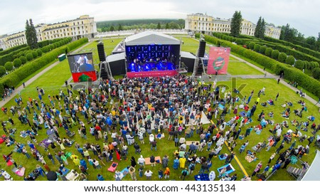 "MOSCOW - JUNE 4: People attend open-air concert on International Jazz Festival ""Usadba Jazz"" in Archangelskoye Museum-Mansion on June 4, 2016 in Moscow - stock photo"