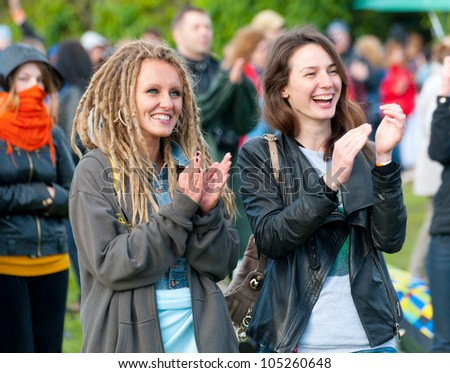 """MOSCOW - JUNE 3: People cheer and attend open-air concert on IX International Jazz Festival """"Usadba Jazz"""" in """"Archangelskoye Mansion"""" on June 3, 2012 in Moscow, Russia. - stock photo"""