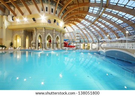 Stock photo moscow june pool with blue water in waterpark caribia on