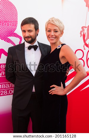 MOSCOW - JUNE, 19: Russian actress E. Volkova with friend. 36th Moscow International Film Festival. Opening Ceremony at Pushkinsky Cinema . June 19, 2014 in Moscow, Russia