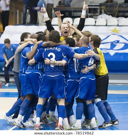 MOSCOW - JUNE 2, Russian Futsal championship, play-off games Dinamo vs. Sinara, final on June 2, 2011 in Moscow. Dinamo is celebrating the second win in series. - stock photo