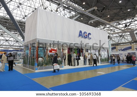 MOSCOW-JUNE 15:Stand Belgian company AGC to produce float glass for construction and automotive industries at the International Exhibition MIR STEKLA'2012 on June 15, 2012 in Moscow - stock photo