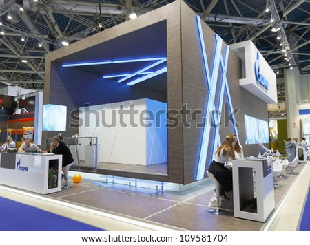 MOSCOW-JUNE 25:The stand of the Russian company Gazprom for production, transportation and sale of oil and gas at the international exhibition NEFTEGAZ-2012 on June 25, 2012 in Moscow