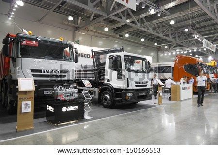 MOSCOW,JUNE 5: Truck Italian company IVECO at the International Exhibition Construction Equipment and Technologies JUNE 5, 2013 in Moscow