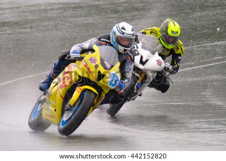 MOSCOW - JUNE 5: Unidentified rider participates in the Race Cup Moscow Region Governor on June 5, 2016 in Moscow Raceway - stock photo