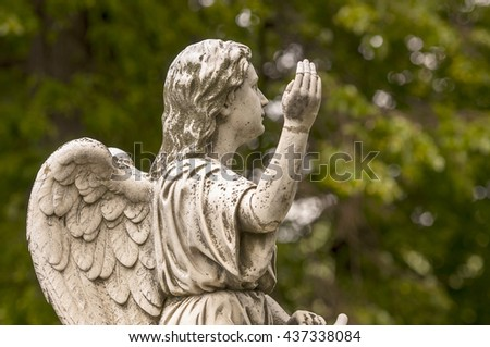 MOSCOW - JUNE 13: Vintage marble Angel at the old cemetery in Moscow on June 13. 2016 in Russia