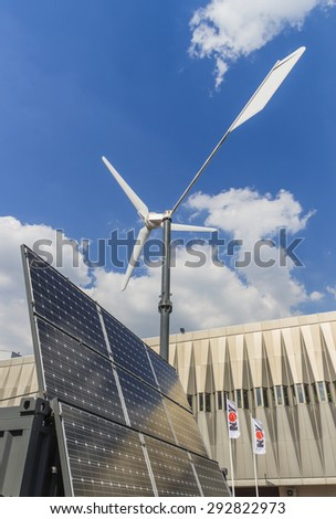 MOSCOW-JUNE 24, 2015: Wind generator with a solar panel of the Russian company President Neva at the International Trade Fair MIOGE
