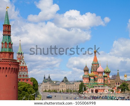 Moscow Kremlin and at St. Basil Cathedral on Red Square in Moscow. Russia. - stock photo