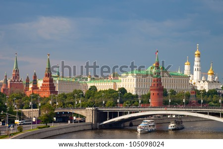 Moscow Kremlin and Moscow river in cloudy day - stock photo