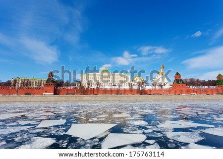 Moscow Kremlin and Moskva River in the sunny spring afternoon - stock photo