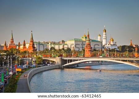 Moscow Kremlin at sunset - stock photo