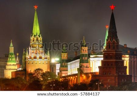 Moscow Kremlin at Victory Day (9th May) - stock photo