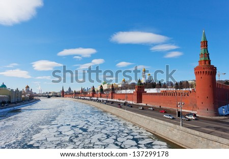 Moscow Kremlin in sunny spring day - stock photo