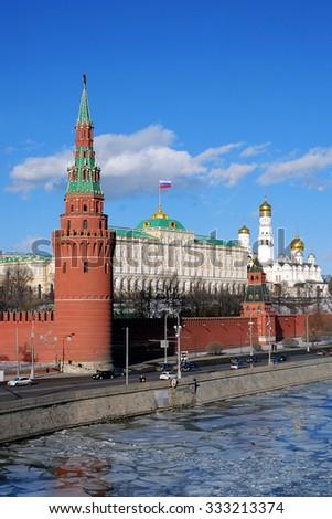 Moscow Kremlin in winter. UNESCO World Heritage Site.  - stock photo