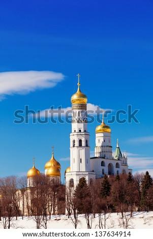 Moscow Kremlin, Ivan Velikogo's belltower in the spring - stock photo