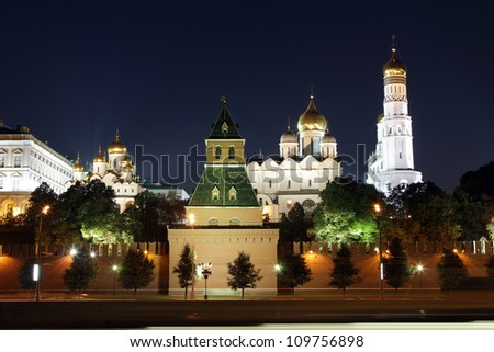 Moscow Kremlin series. View on a group of Ortodox churches: Annunciation Cathedral, Cathedral of the Archangel Michael and The Ivan the Great Bell Tower. Moscow, Russia.
