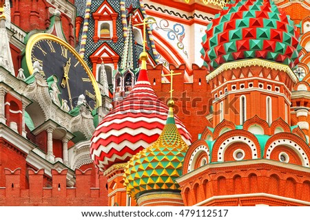 Moscow Kremlin (Spasskaya Tower) and Saint Basil's Cathedral. Ancient Russian Architecture Symbols.( Red Square. Russia). Architectural collage