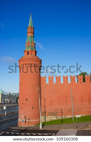Moscow Kremlin towers at the morning light - stock photo