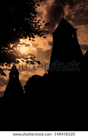 Moscow Kremlin towers silhouette