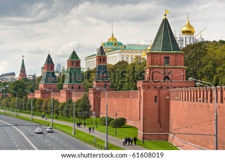 Moscow Kremlin Wall, Spasskaya tower, Russia - stock photo