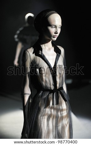 MOSCOW - MARCH 25: A Model walks runway at the Tegin for Fall Winter 2012 presentation during MBFW on March 25, 2012 in Moscow, Russia