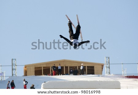 MOSCOW - MARCH 10: Bulgarian athlete GUSTIK Maxim performs a jump at the Subaru FIS Freestyle World Cup in Moscow, Russia, Luzhniki on March 10, 2012in Moscow, Russia.