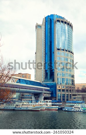 "Moscow - march 9: Business center Moscow-City ""Tower 2000"", bridge ""Bagration"", ships on the river Moskva. Russia, Moscow, march 9, 2015"