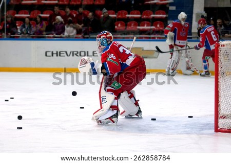 MOSCOW - MARCH 12: Goalkeeper Kevin Laland (35) in action on hockey game Yokerit vs CSKA on Russia KHL championship on March 12, 2015, in Moscow, Russia. CSKA won 3:2 - stock photo