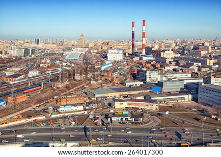 Moscow - march 14: Industrial area in the city, industrial pipes, plants. Russia, Moscow, march 14, 2015 - stock photo