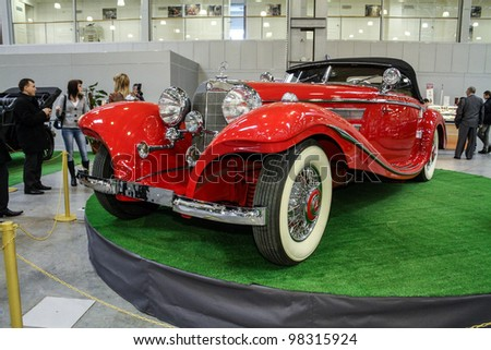 MOSCOW-MARCH 9: Mercedes-Benz 500K Special Roadster 1938 at the international exhibition of the technical antiques on March 9, 2012 in Moscow - stock photo
