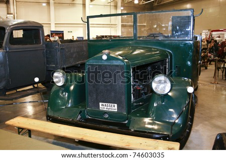 MOSCOW - MARCH 25: Mercedes-Benz L2500 truck 1939 on display at at the Moscow Exhibition of technical antiques on March 25, 2011 in Moscow, Russia. - stock photo