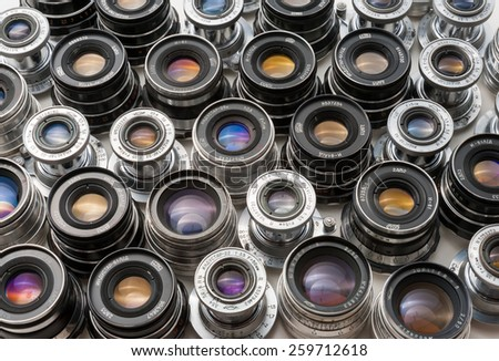 MOSCOW, MARCH 3: Soviet rangefinder m39 lenses on March 3, 2015 in Moscow. These lenses are made in the 50-80's are still popular among photographers who use it  with digital cameras - stock photo