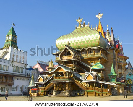 MOSCOW - MARCH 25, 2014: Wooden palace in Izmaylovskiy Kremlin in Izmaylovo - architecture ensamble of original wooden buildings, cultural-entertainment center, art vernisage, built in 2007. - stock photo