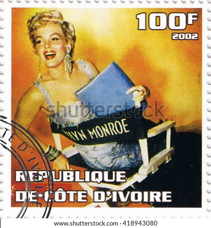 MOSCOW - MAY 11, 2016: A stamp printed in Republic of Cote d'Ivoire depicting an image of legendary Hollywood actress Marilyn Monroe, circa 2002 - stock photo