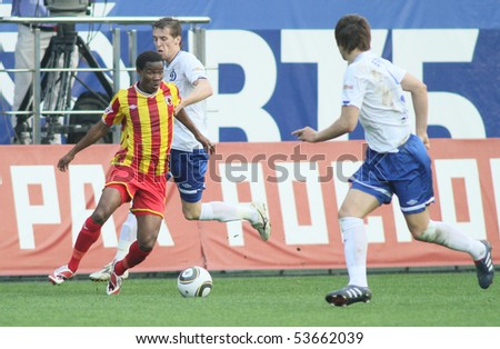 MOSCOW - MAY 15: Alania's defender Abdoul-Gafar Mamah (L) in a game of the 11th round of Russian Football Premier League - Dinamo Moscow vs. Alania Vladikavkaz - 2:0, May 15, 2010 in Moscow, Russia.