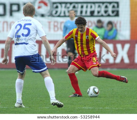 MOSCOW - MAY 15: Alania's midfielder George Floresku (R) in a game of the 11th round of Russian Football Premier League - Dinamo Moscow vs. Alania Vladikavkaz - 2:0, May 15, 2010 in Moscow, Russia.
